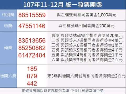 統一發票107年11-12月中獎獎號