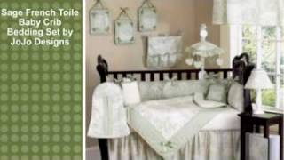 Sage French Toile Baby Crib Bedding Set By Jojo Designs