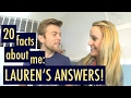 20 facts about me: LAUREN'S ANSWERS! | SA VLOG #12