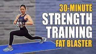 30Min Strength Training Fat Blaster (Burn 300Cals!) | Joanna Soh
