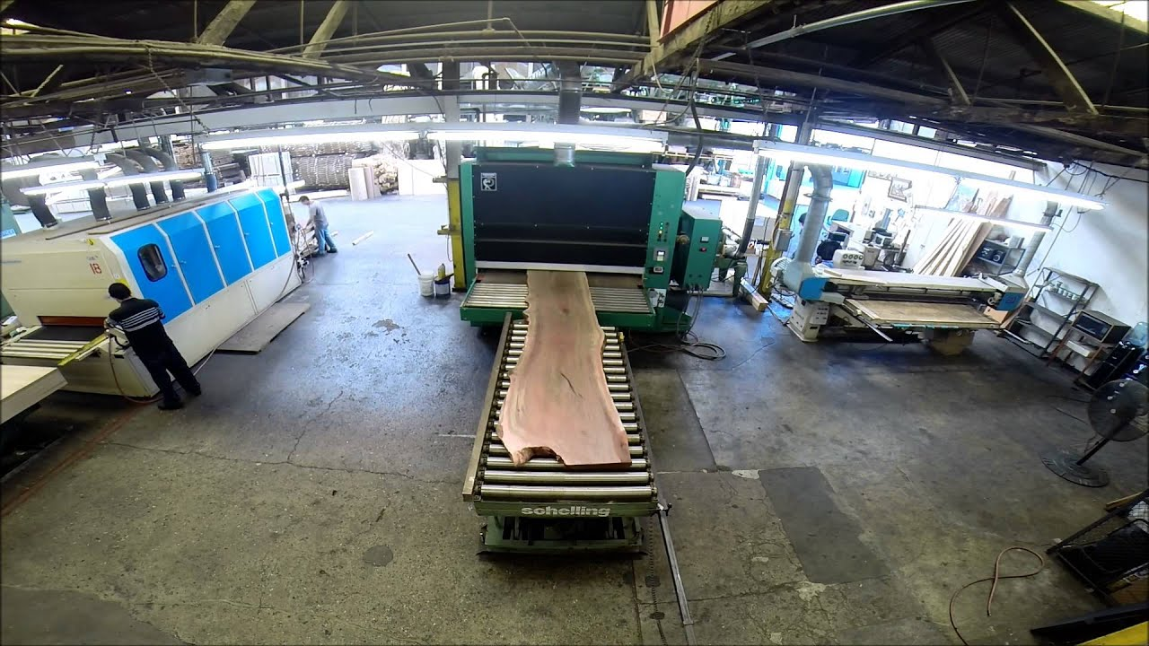 84 Inch Wide Timesavers Abrasive Planer in Action - YouTube