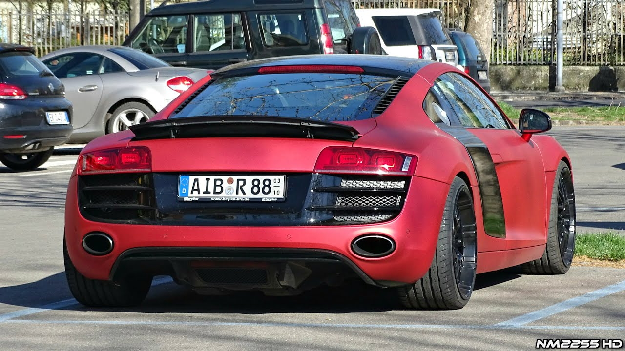 insanely loud matte red audi r8 v8 start, rev and accelerate