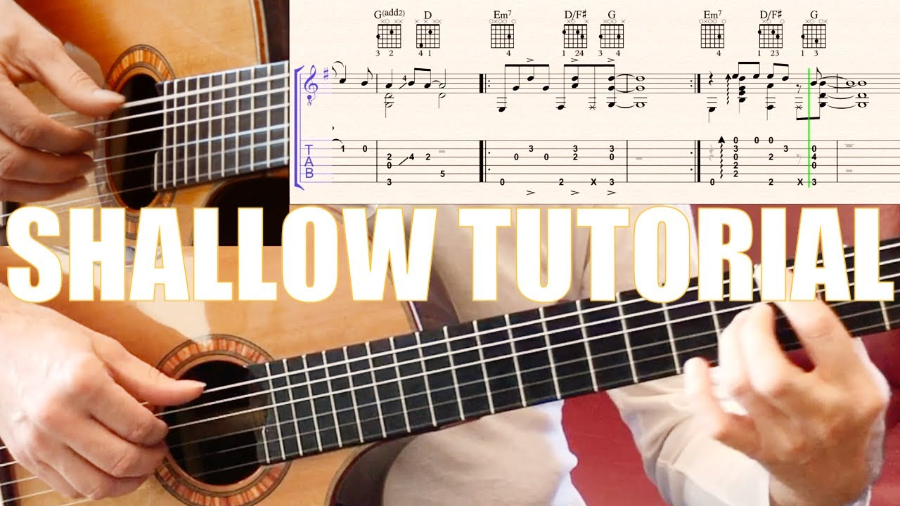 SHALLOW Tabs - Guitar Cover - Fingerstyle Tutorial Lesson