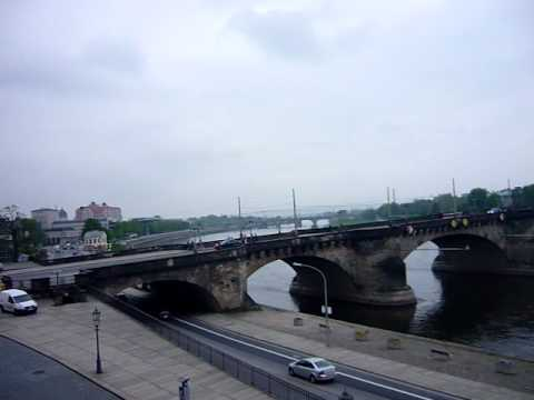 View of Dresden, Germany and Elba river from the beautiful Brühlsche Terrasse (terrace)