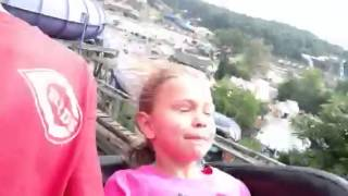 Chloe's first roller coaster ride on the LEGEND at Holiday world