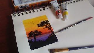pintado con acuarelas Marie´s water color / como pintar atardecer con acuarelas / Speed Drawing