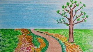 drawing landscape simple draw scenery tree flowers