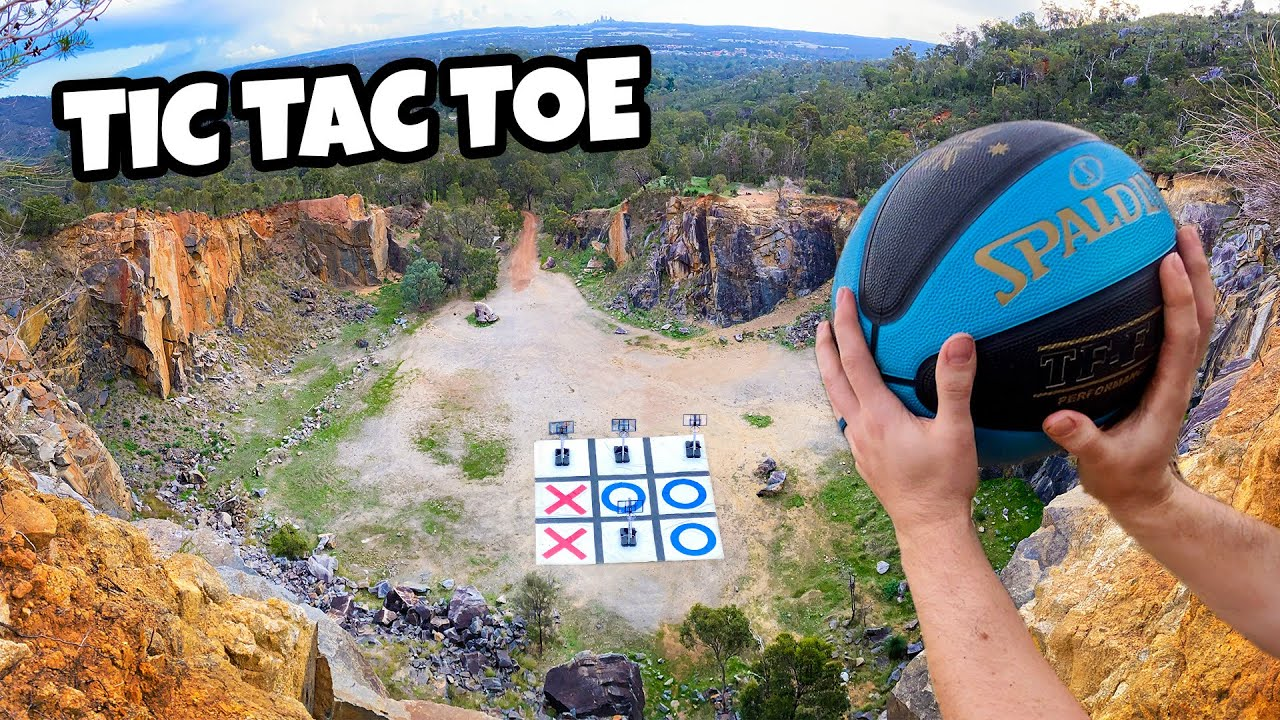 BASKETBALL TIC TAC TOE From 200ft Quarry With 9 HOOPS!