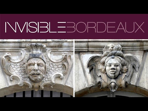The mascarons on Place de la Bourse, Bordeaux