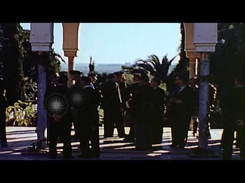 Military officers and other dignitaries at the residence of General Auguste Nogue...HD Stock Footage