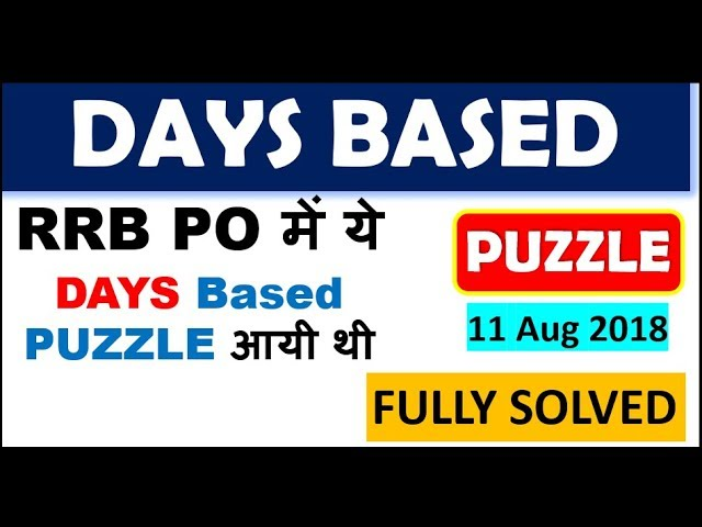 Puzzle (RRB PO में ये  DAYS Based  PUZZLE आयी थी ) || Try this Puzzle and Check your Level