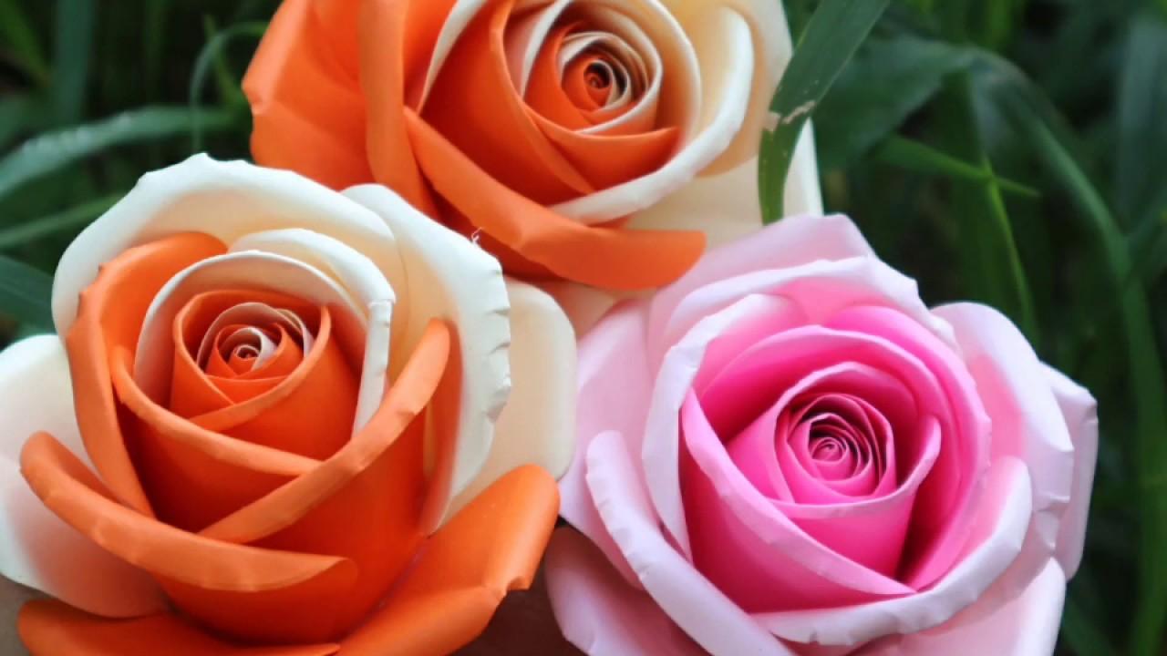 Cách làm hoa hồng giấy mỹ thuật mix màu