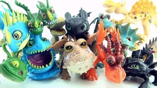 8 dragons and 6 dinosaurs - How to Train your Dragon toys - Toothless Gronckle Hideous Zippleback
