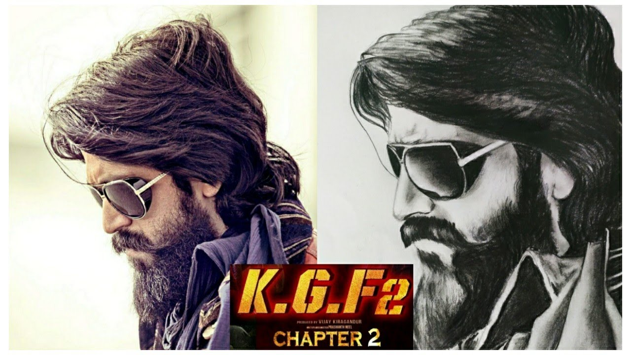 KGF Yash Drawing easy | | how to draw kgf chapter- 1 ...