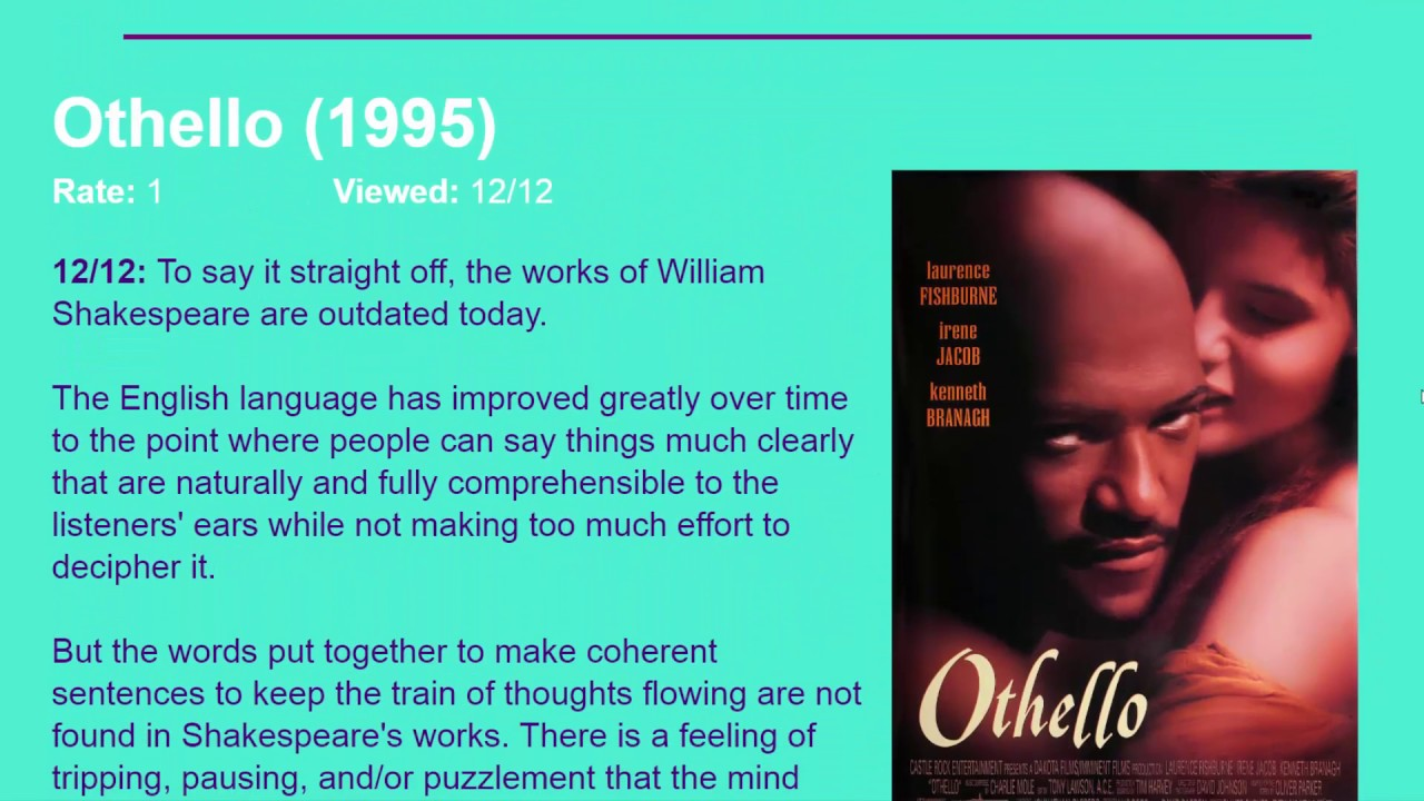 othello movie review essay