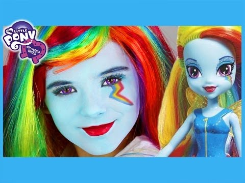 My Little Pony Rainbow Dash Makeup Tutorial!  Equestria Girl Doll Cosplay | Kittiesmama