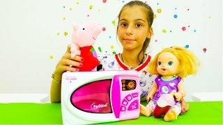 Распаковка микроволновки с Пеппой. Игрушки Свинка Пеппа - Мультики для девочек