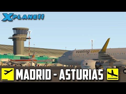 X Plane 11 // Un aterrizaje complicado // Madrid - Asturias a320 //