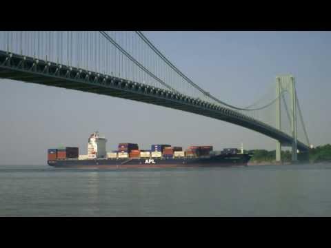 New York Container Ship Spotting - APL Shanghai inbound under Verrazano Bridge  June 24, 2013