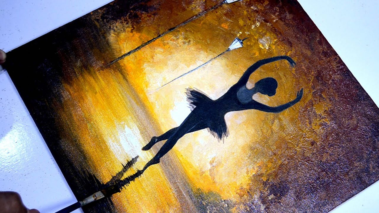 Dancing Girl Painting Abstract Acrylic Painting On Canvas Step By Step Easy Tutorial Moonlight Youtube