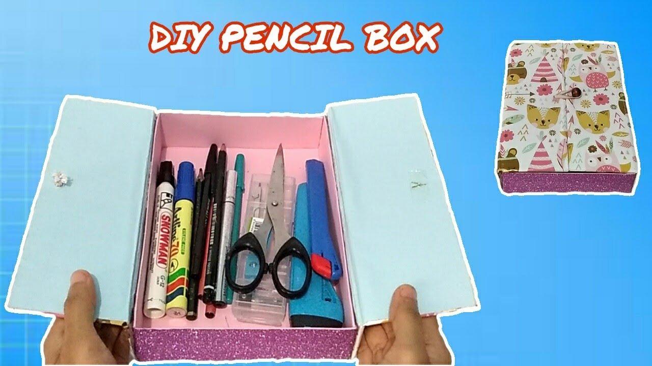Cara Mudah Membuat Kotak Pensil Dari Kardus Bekas Diy Pencil Box From Cardboard Youtube