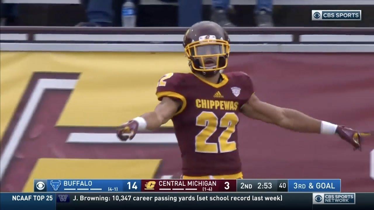 official photos 30ebb 5e8de Xavier Crawford (Central Michigan DB #22) Vs. Buffalo 2018