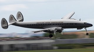 Spectacular Lockheed Super Constellation visual Approach - Paris Air Show 2013 ( HD )