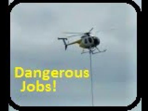 Helicopter Trimming Trees By Power Lines MD500 Sounds Transmission Air Saw blade Dangerous Jobs