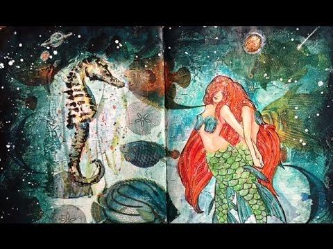 Mermaid Mixed Media Napkin Journal Page