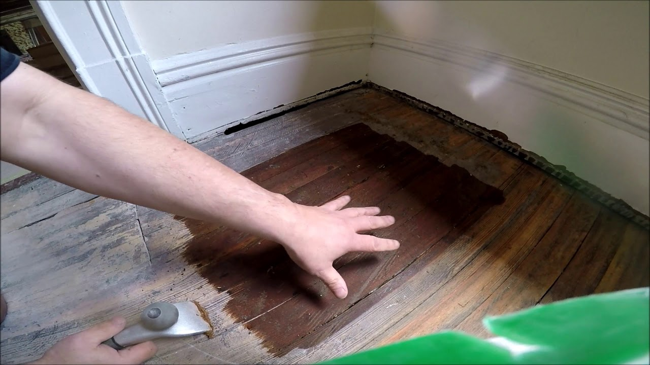 Refinish Hardwood Floors Without Sanding Paint And Glue Removal Youtube