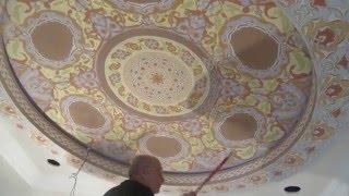 Роспись потолка  Восточный орнамент(Орнамент акриловыми красками тел. 0558065004., 2015-05-27T17:17:42.000Z)