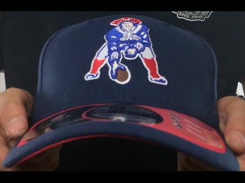 e464cd6e6db05 Patriots  2015 NFL THROWBACK STADIUM FLEX  Navy-Red Hat by New Era ...