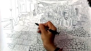 "Drawing ""vegetable Market"" with ballpoint pen 