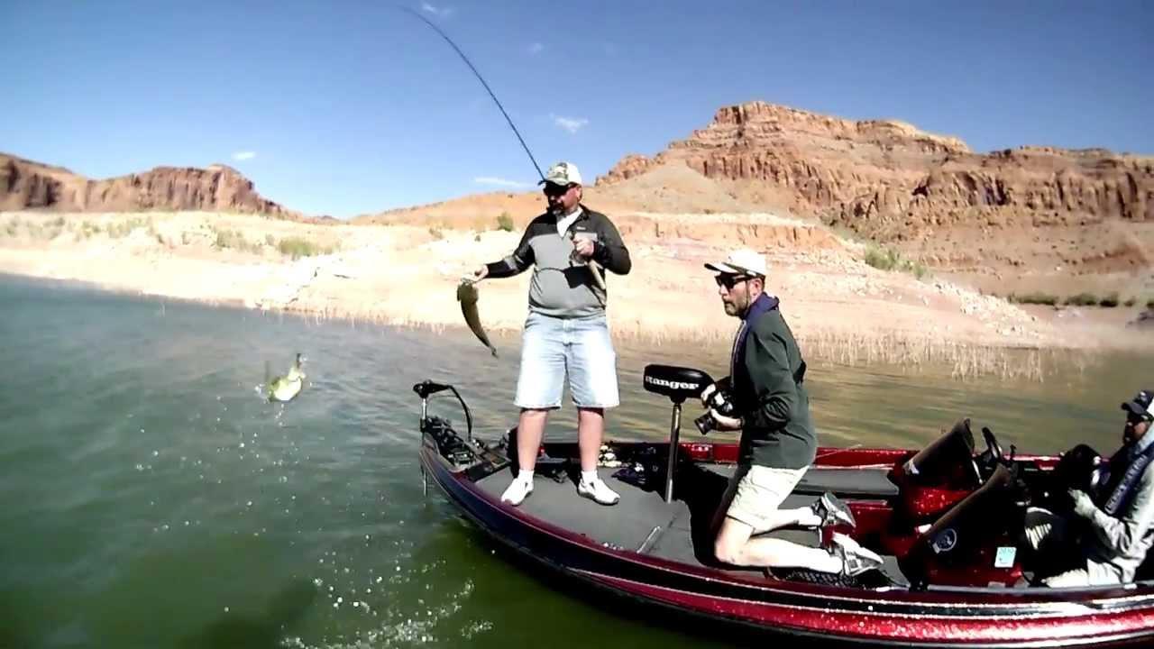 Lake powell fishing striper boils youtube for Lake powell fishing