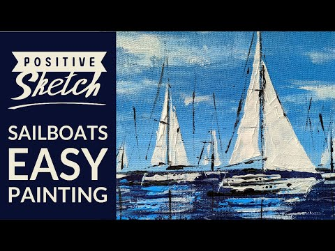 Acrylic painting tutorial, Sailboat painting, Daily art, Demo