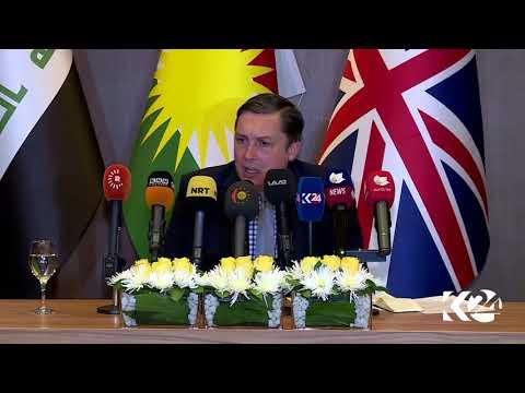 UK Ambassador to Iraq Jon Wilks holds a press conference in Erbil, capital of the Kurdistan Region