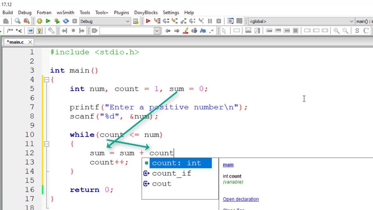 C Program To Calculate The Sum Of Natural Numbers From 1 To N Youtube