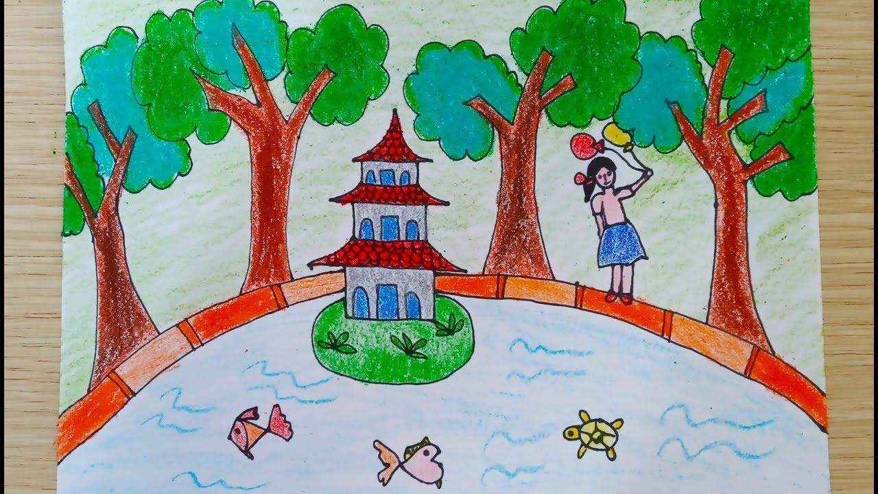 Vẽ Tranh Phong Cảnh Tháp Rùa
