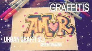 como dibujar un graffiti de amor paso a paso version speed drawing
