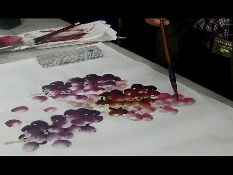 How to Paint Grapes in Chinese Watercolor