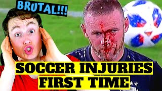 AMERICAN REACTS TO FOOTBALL INJURIES FOR THE FIRST TIME (brutal...)