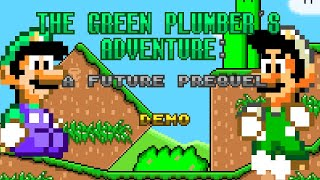 The Green Plumber's Adventure: A Future Prequel (Demo) (2021) / Complete Playthrough / SMW ROM Hack