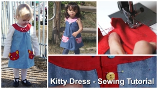 Pinafore Kitty Cat Dress - How to sew the Dress