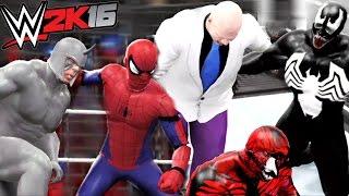 SPIDERMAN VS RHINO VS CARNAGE VS VENOM VS SANDMAN VS KINGPIN | WWE 2K16