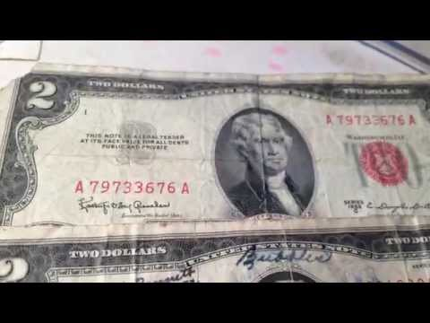 Star Notes And Red Seal Two Dollar Bills