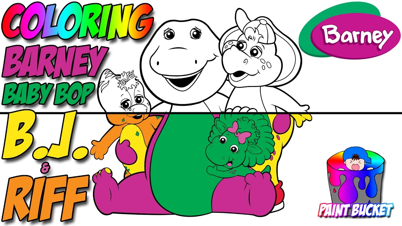 Coloring Barney, Baby Bop, B.J. and Riff - Barney and Friends ...