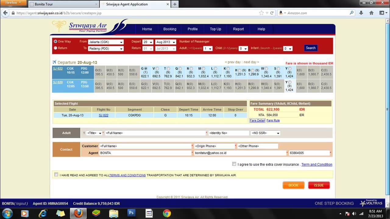 Cara Booking Tiket Pesawat Maskapai Sriwijaya Air Bonita Tour