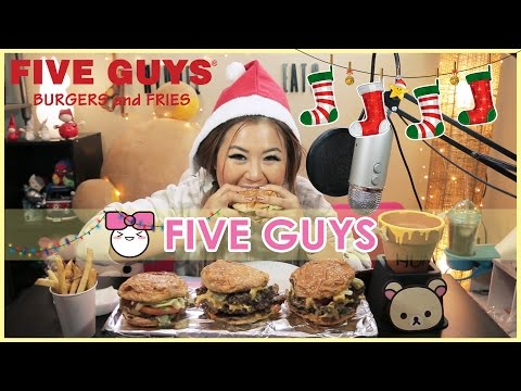 FIVE GUYS BURGERS + FRIES!! MUKBANG [먹방]
