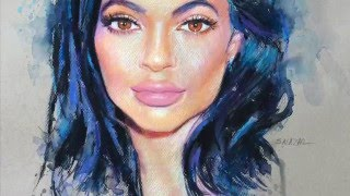 Kylie Jenner. Colored drawing. Portrait.