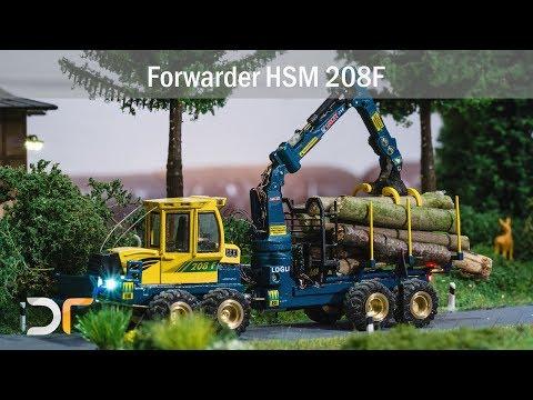 komplett funktionsfähiger Forwarder HSM 208F in Aktion auf der Intermodellbau